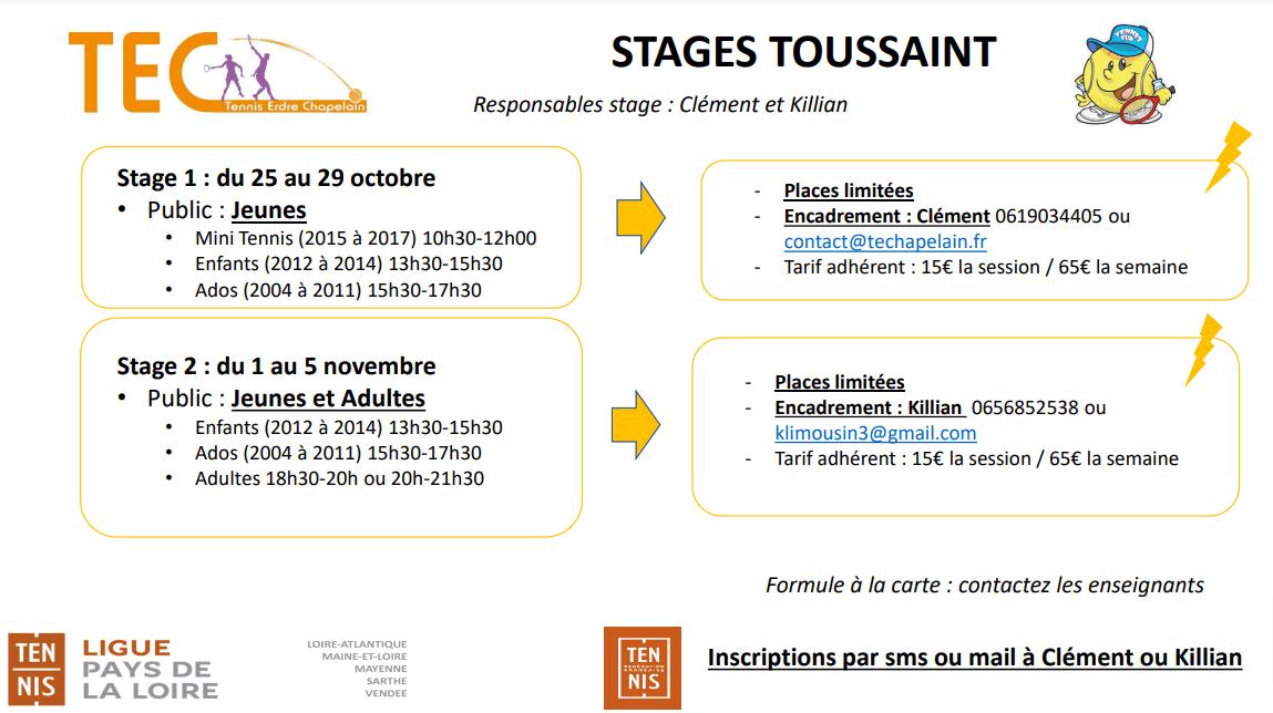 Stages Toussaint 2021